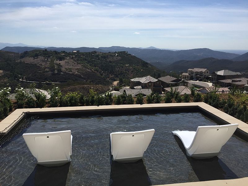 endless pool in san elijo hills looking at the hilly terrain